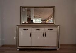 Комод Элизабет с зеркалом (белый)