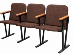 Кресло для актового зала мягкое 3-х местное,в ткане